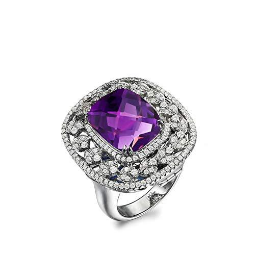 Bishilin Alianza de Boda S925 Plata de Ley para Novia Ajuste Cómodo Rectángulo Exagerado Púrpura Cristal Piedra del Zodíaco Anillo de Alianza de Boda de Compromiso de Aniversario Plata Talla: 17