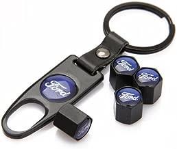 CzlpV Black Car Wheel Tire Valve Caps Tyre Stem Air Caps Keychain Styling For Ford