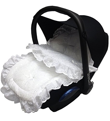 Broderie Anglaise Car Seat Footmuff/Cosy Toes Compatible with Silver Cross White