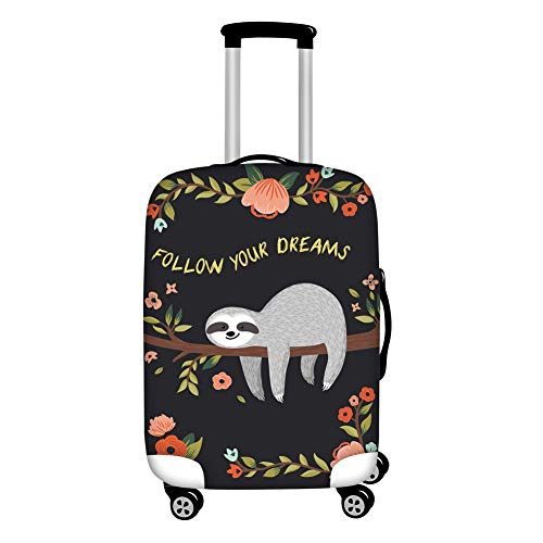 Dremagia Follow Your Dream Sloth Pattern Cute Travel Luggage Cover Washable Suitcase Baggage Covers for 30-32 Inch