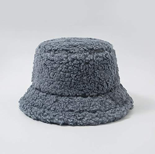 Sombrero de Mujer Piel Artificial sólida Gorra Femenina cálida Piel sintética Sombrero de Cubo de Invierno para Mujer Sombrero de protección Solar al Aire Libre Sombrero Panamá Lady Cap - Azul Gris