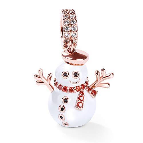 GNOCE Charm Ciondolo Pupazzo di Neve in Agento S925 Ti Accompagno Charm Bead Placcato Oro Rosa 18k per Bracciali e Collana Regalo di Natale per Famiglia Moglie Figlia Amico