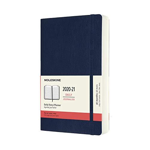 Moleskine - Agenda 2020/2021 un Día por Página, Agenda de 18 Meses, Planificador Diario con Tapa Blanda y Cierre Elástico, Tamaño Grande 13 x 21 cm, Color Azul Zafiro, 608 Páginas