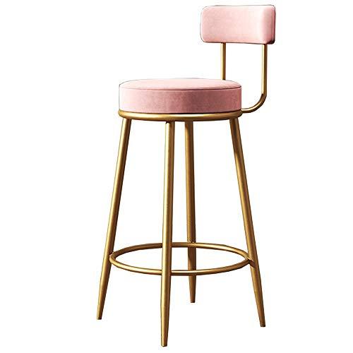 LJFYXZ Taburete de Bar Terciopelo Rosa con Respaldo Taburete de Hierro Forjado Reposapiés Cocina de Pub Los 65 / 75cm (Color : Pink, Size : 65cm(25.6'))