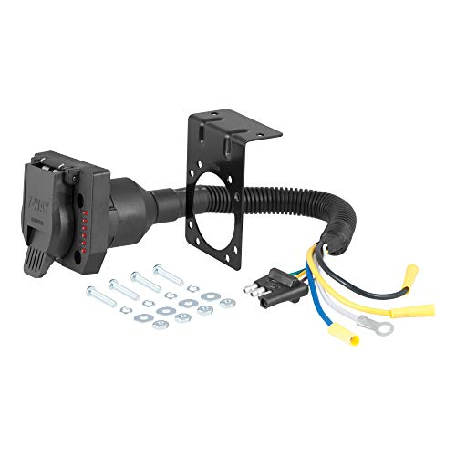 CURT 57676 4-Way Flat Vehicle-Side to 7-Way RV Blade Trailer Wiring Adapter with Tester