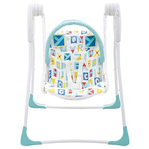 Graco Baby Delight Babyschaukel, Geburt bis 9 kg, leicht und platzsparend, Sitzen oder Liegen, inkl. Spielbügel, Batteriebetrieb, Weiß / Hellblau
