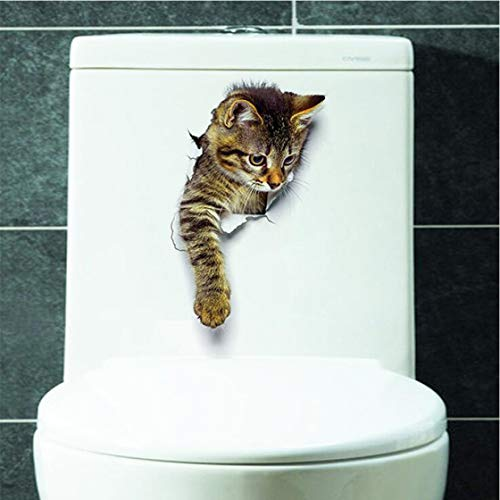Jessicadaphne Nette Katze Badezimmer Wandaufkleber wasserdichte Wandtattoo Toilette Home Decoration