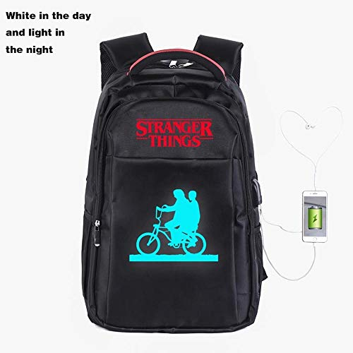 Backpack Luminous School Stranger Things Printed College Laptop Bag For Adults/Elementary/middle School Students With USB Charging Hole Black-19 inches
