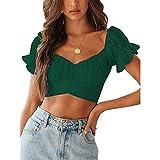 YANFANG Blusa Floral Delgada con Cuello Cuadrado y Estampado de Mariposas para Mujer,Camisas Blusas Tops Elegantes Casual Túnica Jersey T Shirt Tallas Grandes, Verde Caqui,XL