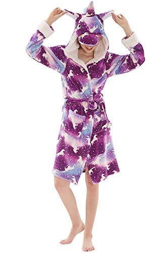 YAOMEI Herren Damen Morgenmantel Bademäntel 3D Einhorn Kapuze, Winter Vlies Nachtwäsche Nachthemd Robe Negligee locker Schlafanzug für Spa Hotel Sauna, Party, Shower (M, Helles Lila)