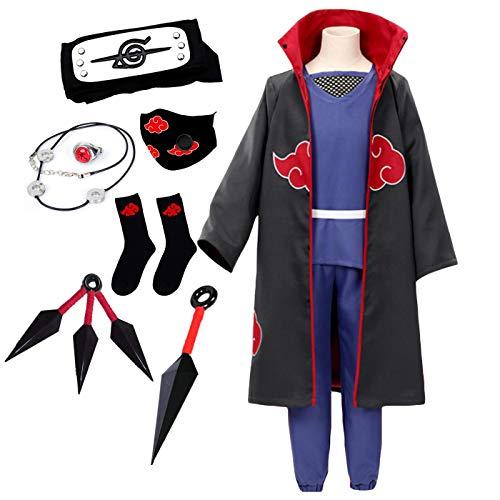 LCXYYY Disfraz de Naruto, Akatsuki/Uchiha Itachi Traje de Cosplay Anime Naruto para Halloween Navidad Fiestas Disfraces Capa Trajes y Accesorios para Niños Adulto