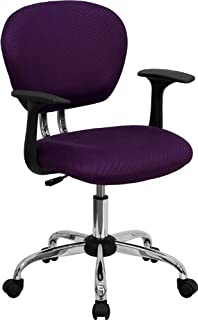 Flash Furniture Mid-Back Purple Mesh Padded Swivel Task Office Chair with Chrome Base and Arms