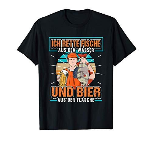 Angeln Bier Ich rette Fische aus dem Wasser Lustig Geschenk T-Shirt