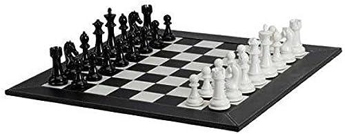 100% a estrenar con calidad original. Deluxe Chessmen with Leatherette Chessboard, negro blanco blanco blanco by CHH  almacén al por mayor