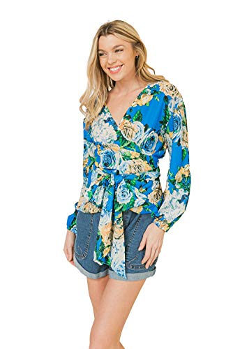 Floral Wrap Bow Tie Blouse - Long Sleeves with Attached Self Sash Tie Blue Small