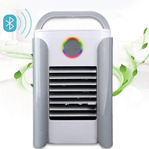 Aire Acondicionado Móvil Enfriador Ventilador USB Climatizador Portátil Mini 3 en 1 Enfriador de Aire Humidificador Purificador Ventilador con LED Luz de la Noche (Color : Gray)