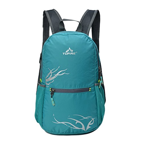TOFINE Water Resistant Motorcycle Packable Foldable Traveling Backpack Lake Green 15 Liter