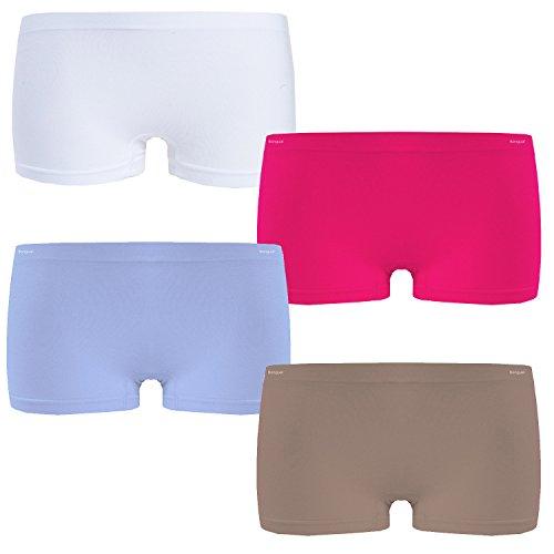 Bongual 4-6 Damen Boxershorts Panty Hotpants Microfaser Sport Unterhose Sportpanty Basics (L/XL, VAR.2)