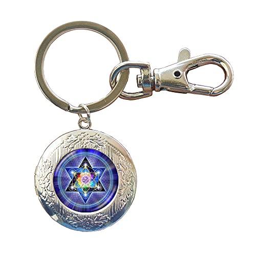 Llavero de geometría sagrada con medallón de fotos de flor de la vida llavero hexagonal geométrico joyería Om Locket llavero, PU323
