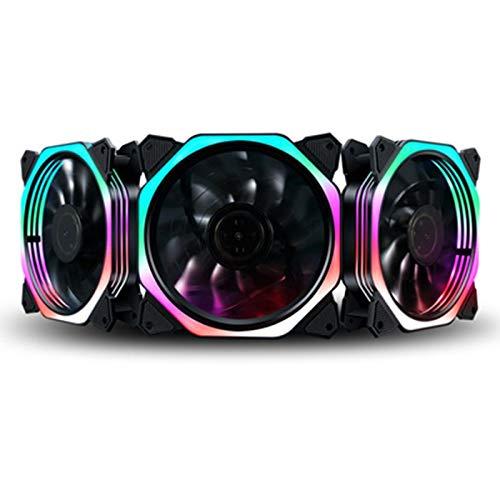 YUXIwang Mini ventilador USB de 12 cm de apertura doble, multicolor, silencioso, LED, ventilador de refrigeración de 12 V (color: colorido)