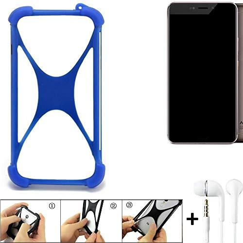 K-S-Trade® Handyhülle Für Allview X4 Xtreme Bumper Schutzhülle Silikon Schutz Hülle Cover Case Silikoncase Silikonbumper TPU Softcase Smartphone, Blau (1x), Headphones