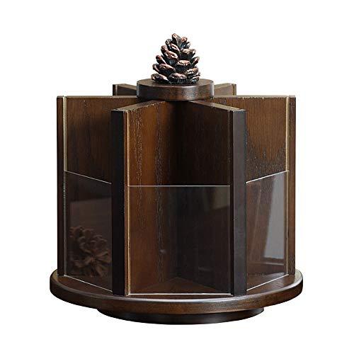 Kcakek Roterende cosmetische opbergdoos Desktop kaptafel Oude Chinese stijl houten magazijnstelling Layered Cosmetische Stand Cosmetische Storage In badkamer en slaapkamer