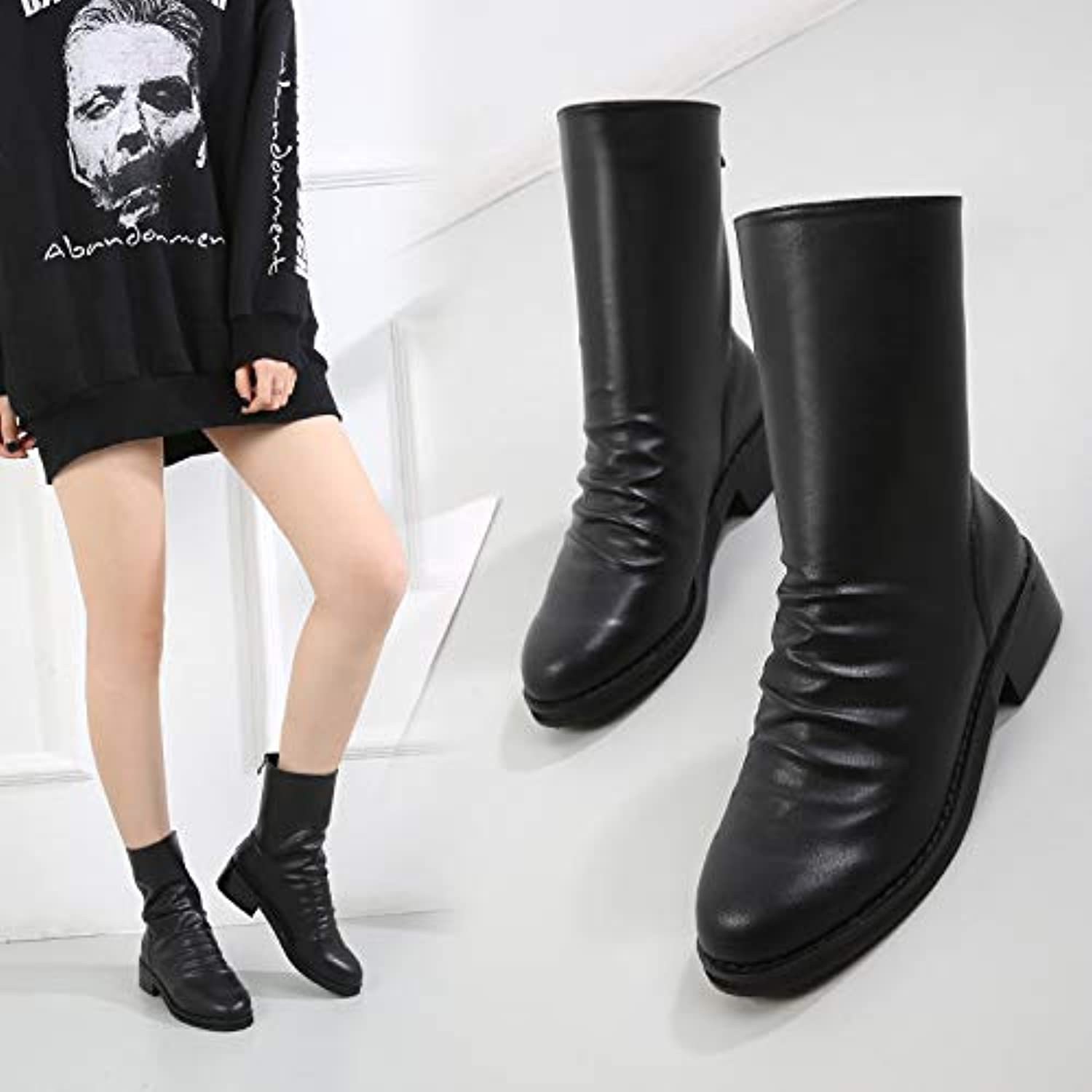 HOESCZS Boots Martin Boots Autumn and Winter New Women's Boots Thick with Short Boots Round Head Martin Boots Leather Boots Fashion Thick Boots