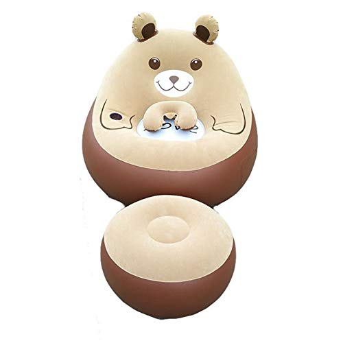 VIVITG Totoro Inflatable Lazy Couch Cute Bean Bag Sofas Home Bedroom Fashion Cushion Sheets People Lunch Break Chair, with Footrest,Brown