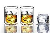 Sun's Tea DB-06 - Vasos de whisky de doble pared, borosilicato, transparente