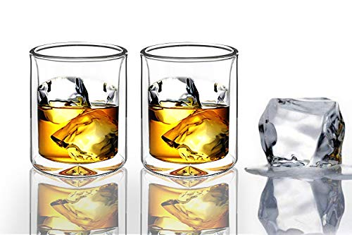 Sun's Tea | Set of 2 | Strong Double Wall Insulated| Old-fashioned Whiskey Glasses | Classic Scotch...