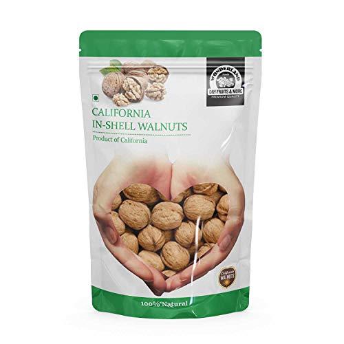 WONDERLAND FOODS, 1 kg Akhrot with Shells Jumbo Size, Premium California In-shell Walnuts, 1000 gram