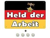 Magnetschild Held der Arbeit - DDR Fahne tin Sign 20x30cm inkl. 4 Magneten
