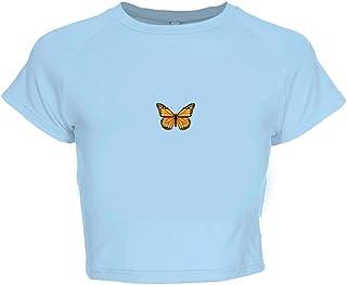 Wanxiaoyyyindx Work Blouses for Women, Print Tshirt Women Aphrodisiac Crop Tops Summer Short Sleeve Cotton T-Shirt Streetw...