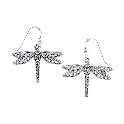 Jewelry Trends Sterling Silver Celtic Triskele Dragonfly Dangle Earrings
