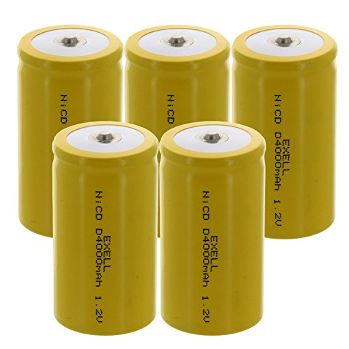 5x Exell D Size 1.2V 4000mAh NiCD Button Top Rechargeable Batteries for meters, radios, hybrid automobiles, high power static applications (Telecoms, UPS and Smart grid), radio controlled devices
