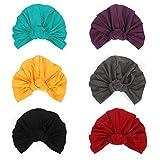 DANMY Women's Autumn Winter Knotted Hat Wrap Cap India's Hat Turban Headwear (A-blue/Purple/Yellow/Red/Darkgray/Black-6pcs)