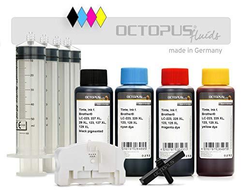 Octopus complete set met chipreset voor Brother LC-223, LC-225, LC-227, LC-229 patronen met 4 x 100 ml printerinkt, 400 ml navulinkt, onbegrensde resets (non OEM)