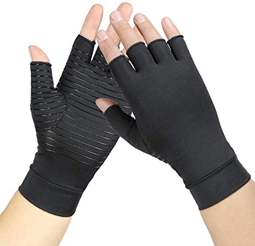 Compression Gloves for Women and Men Copper Arthritis Gloves for hand support Rheumatoid Swelling and Tendonitis Pain Relief 1 Pair Medium