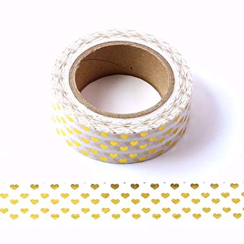 Nastro adesivo con cuori, diversi motivi e colori Gold Foil Hearts