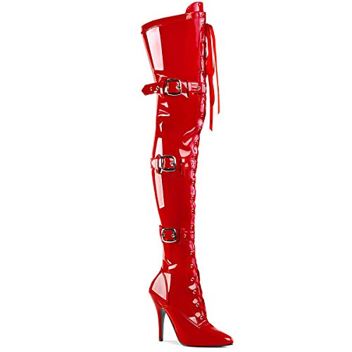 Pleaser Women's SEDUCE-3028 Stretch Thigh Boot Red 11
