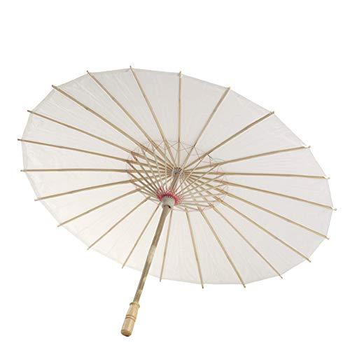 Feeilty Estilo Chino Japonesa De Bambú Palillo De Parasol Paraguas, Aceite De Papel Paraguas Blanco Tradicional China De La Danza Apoyos Sombrillas Hecho A Mano Decoración