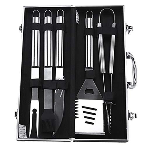 5 Piezas Utensilios Barbacoa Kit con Estuche Aluminio, Utensilios Parrilla Barbacoa Primera Calidad, Herramientas Acero Inoxidable para Acampar, Cocina