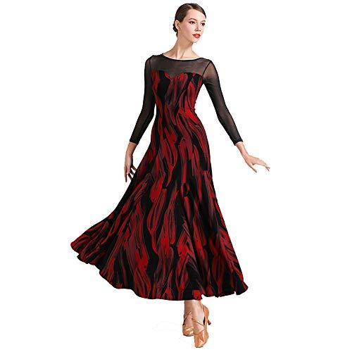 GXFXLP Nationaler Standard Ballsaal Tanzkleider Damen Walzer Tanzkleidung Tango-Übungskleid V-Ausschnitt Spitze/Lange Ärmel Moderner Tanz Tanzabnutzung,Rot,XL