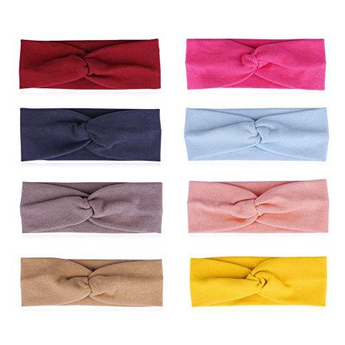 Yoofoss Baby Stirnbänder Mädchen Haarbänder 8 Stück Baumwolle für 0-24 Monaten
