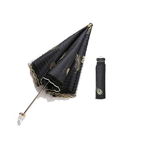 Yi-xir Experiencia Confortable Bordado de Encaje UV de Protector Solar Ultraligero de Las Mujeres Pegamento Negro Dos Pliegue Paraguas Paraguas de Viaje Compacto (Color : Black)