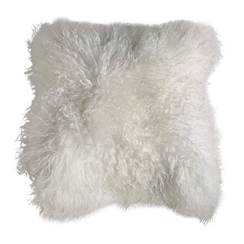 Hollert Lammfellkissen Tibet lockige Wolle 40 x 40 cm + Inlett Daunenkissen echtes Schaffell Zierkissen Dekokissen Sofakissen Farbe Weiß