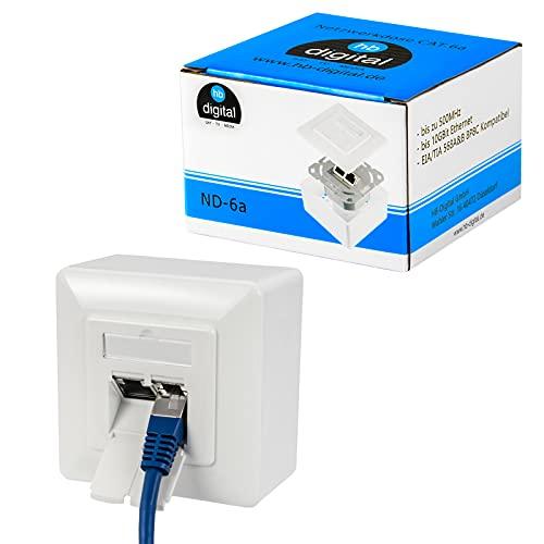 hb-digital 1x CAT 6a Netzwerkdose für CAT.8 CAT.7 CAT.6A CAT.6 CAT.5 Verlegekabel mit 2X RJ45 Port | Aufputz- / Unterputz-Kombidose Netzwerk Daten Universal Dose EIA/TIA 568A&B 8P8C Gigabit Ethernet
