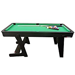 Stable and Solid 5ft Pool Table Providing Hours of Fun for Families and Friends; Classic, Elegant Styling and Excellent Ball Rebound; Folds Easily for Convenient Storage; Made to Last and Withstand some Serious Play; Playing Surface: 12mm MDF with Po...