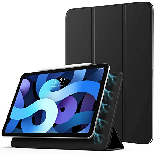 TiMOVO Hülle für iPad Air 4. Generation 10.9 Zoll 2020 / iPad Pro 11 Zoll 2018, Schutzhülle mit Auto Schlaf/Aufwach Funktion, Magnetisch Befestigung & Ladung für iPencil 2 - Schwarz