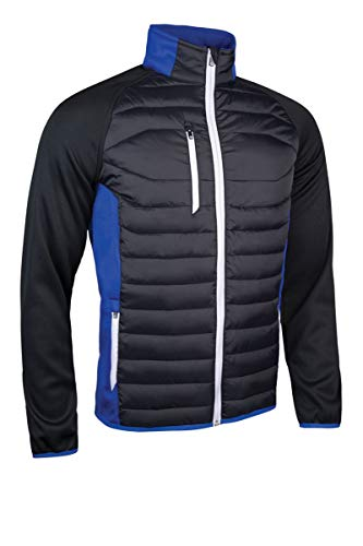 Sunderland Mens SUNMC83 Zip Front Padded Stretch Panel and Sleeves Performance Golf Jacket Black/Electric Blue/White M